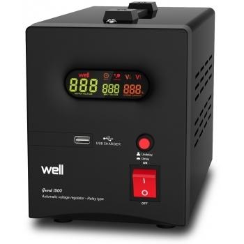 Stabilizator automat de tensiune cu releu 1500VA, negru