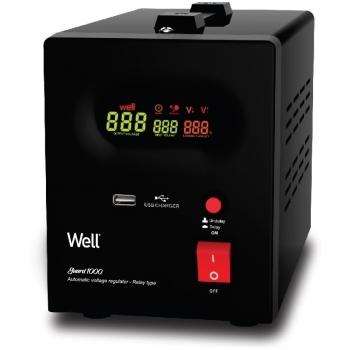 Stabilizator automat de tensiune cu releu 1000VA, negru