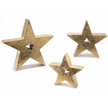 Set 3 stele decorative lemn auriu patinat