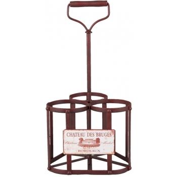 Suport fier forjat rosu 3 sticle vin Chateau des Bruges 20x20x40 cm #2