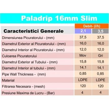 Tub picurare Paladrip slim 16/40 cm/2 l/h 400 m #2