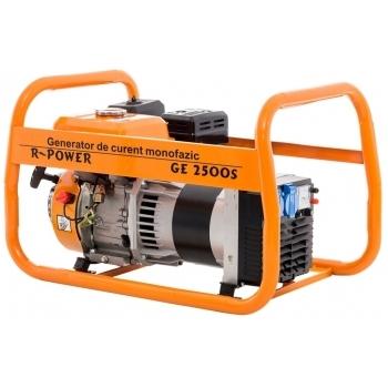 Generator de curent Ruris, R-Power GE2500S, monofazic, putere 2.8 kW, benzina, putere motor 7 Cp, tensiune 220 V, pornire manuala