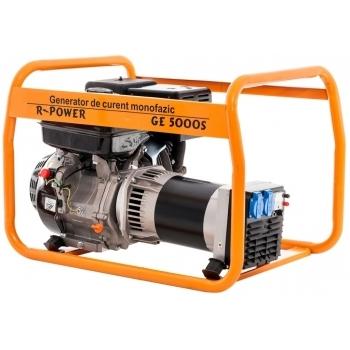 Generator de curent Ruris, R-Power GE 5000 S, monofazic, putere 5.5 kW, benzina, putere motor 13 Cp, tensiune 230 V, pornire manuala