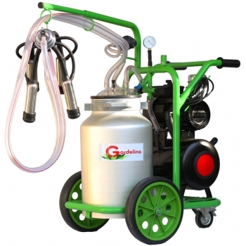 Aparat de muls bovine T140 AL IC, productivitate 8-10 bovine/h, 1 post, bidon 40 l aluminiu, cu pahare inox cu tanc, Gardelina
