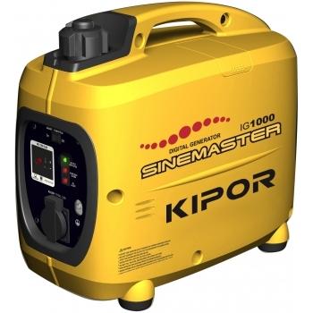 Generator de curent Kipor, digital IG 1000, monofazic, 1.0 kW, benzina, putere motor 1.36 Cp, tensiune 230 V, pornire manuala, sistem automat de accelerare, sistem de aprindere TCI