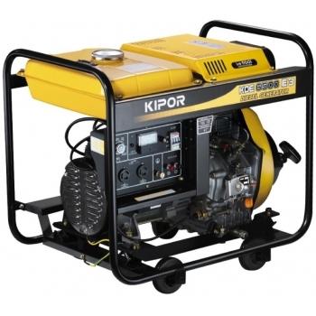 Generator de curent Kipor KGE 6500 E, monofazic, putere 5.5 kW, benzina, putere motor 7.37 Cp, tensiune 230 V, pornire electrica, uz general