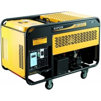 Generator de curent Kipor, KDE 12 EA, monofazic, putere 3.3 kW, diesel, putere motor 4.5 Cp, tensiune 230 V, pornire electrica, uz general