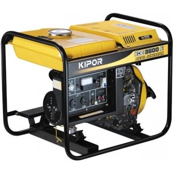 Generator de curent Kipor, KDE 3500 X, monofazic, putere 3.2 kW, diesel, putere motor 4.28, tensiune 230 V, pornire manuala, uz general