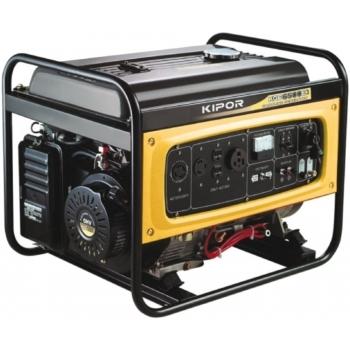 Generator de curent Kipor, KGE 6500 E3, trifazat, putere 6.0 kW, benzina, putere motor 8.16 Cp, tensiune 400 V, pornire electrica, uz general