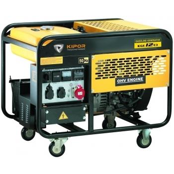 Generator de curent Kipor, KGE 12 E3, trifazat, putere 10.5 kW, benzina, putere motor 14 Cp, tensiune 400 V, pornire electrica, uz general