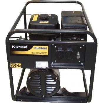 Generator de curent Kipor, KGE 6000 C, monofazic, putere 5.5 kW, benzina, putere motor 7.37 Cp, tensiune 230 V, pornire manuala, uz general