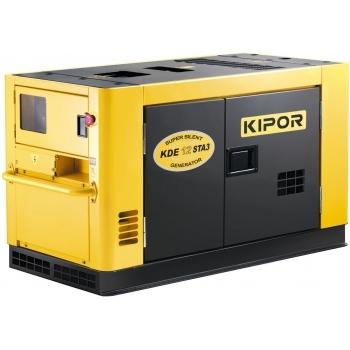 Generator de curent Kipor, DE 12 STA3, insonorizat, trifazat, putere 11.0 kW, diesel, putere motor 15 Cp, tensiune 230 V / 400 V, pornire electrica