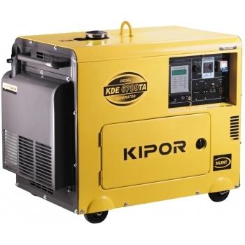 Generator de curent Kipor, KDE 6700 TA, insonorizat, monofazic, 5.0 kW, diesel, putere motor 6.8 Cp, tensiune 230 V, pornire electrica