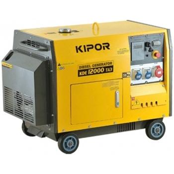 Generator de curent Kipor, KDE 12000 TA3, insonorizat, trifazat, putere 11.0 kW, diesel, putere motor 15 Cp, tensiune 400 V, pornire electrica