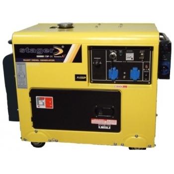Generator de curent Stager, DG5500S, monofazic, putere 5.0 kW, diesel, putere motor 7.0 Cp, tensiune 230 V, pornire electrica, cu panou de automatizare