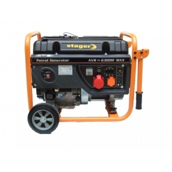 Generator de curent Stager, Open Frame GG7300-3W, trifazic, putere 6.3 kW, benzina, putere motor 8.5 Cp, tensiune 230 V / 400 V, pornire manuala