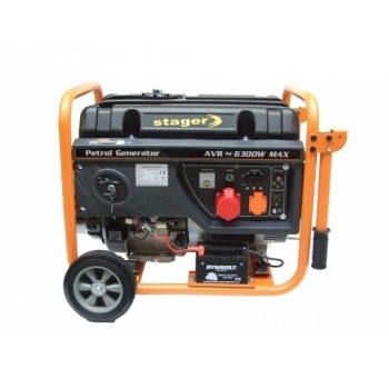 Generator de curent Stager, Open Frame GG7300-3EW, trifazic, putere 6.3 kW, benzina, putere motor 8.5 Cp, tensiune 230 V / 400 V, pornire electrica