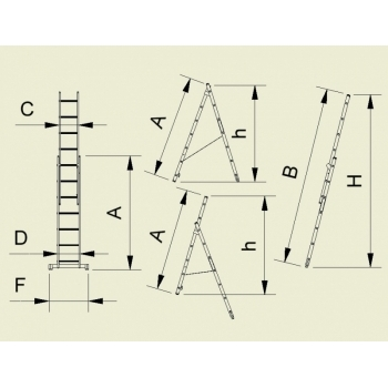 Scara universala cu doua tronsoane 7709, 2x9 trepte, Alverosal #2
