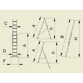 Scara universala cu doua tronsoane 7711, 2x11 trepte, Alverosal #2