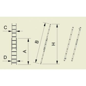 Scara cu doua tronsoane culisanta 7216, 2x16 trepte, Alverosal #3
