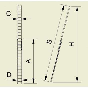 Scara cu doua tronsoane culisanta cu funie 7314, 2x14 trepte, Alverosal #3