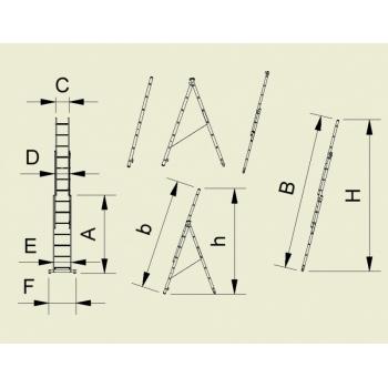 Scara universala cu trei tronsoane 7607, 3x7 trepte, Alverosal #2