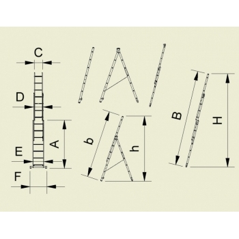 Scara universala cu trei tronsoane 7609, 3x9 trepte, Alverosal #2