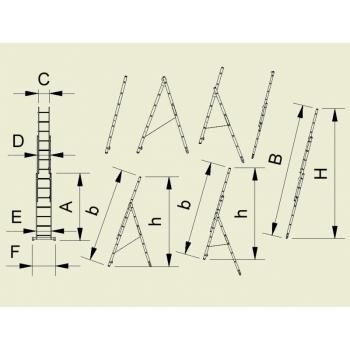 Scara universala cu trei tronsoane 7808, 3x8 trepte, Alverosal #2