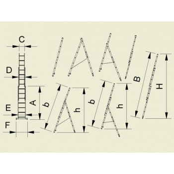 Scara universala cu trei tronsoane 7809, 3x9 trepte, Alverosal #2