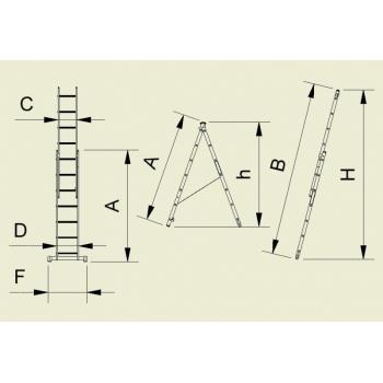 Scara universala cu doua tronsoane profesionala forte 8514, 2x14 trepte, Alverosal #2