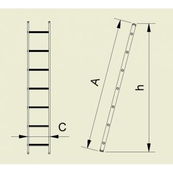Scara simpla cu un tronson forte 9911, 1x11 trepte, Alverosal #2
