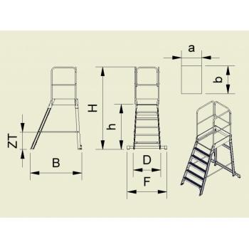 Platforma mica forte cu trepte pe o parte 9503, cu roti, 1x3 trepte, Alverosal #2