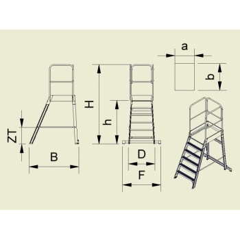 Platforma mica forte cu trepte pe o parte 9505, cu roti, 1x5 trepte, Alverosal #2
