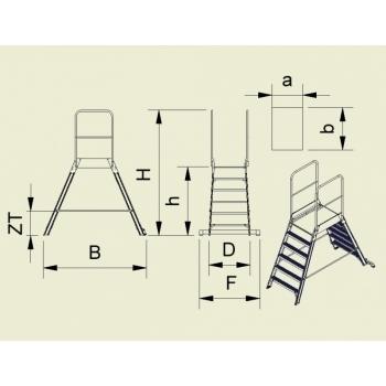 Platforma mica forte cu trepte pe ambele parti 9706, 2x6 trepte, Alverosal #4