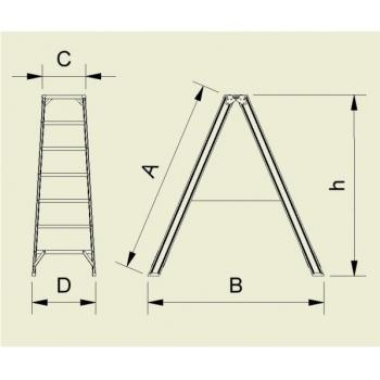 Scara dubla forte cu trepte pe ambele parti 9404, 2x4 trepte, Alverosal #2