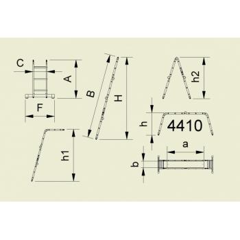 Scara forte cu articulatie din patru tronsoane 4413, 4x4 trepte, Alverosal #4