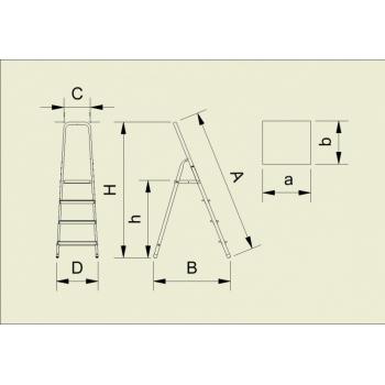 Scara dubla din aluminiu cu urcare pe un tronson 916, 1x6 trepte, Alverosal #2