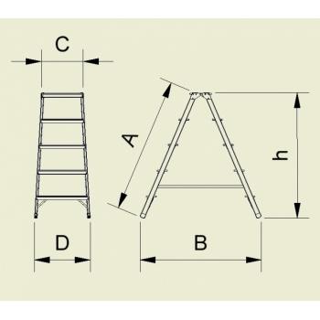 Scara din aluminiu cu urcare pe ambele tronsoane 964/924, 2x4 trepte, Alverosal #2