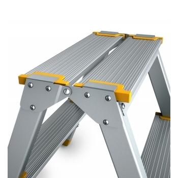 Scara din aluminiu cu urcare pe ambele tronsoane 964/924, 2x4 trepte, Alverosal #5
