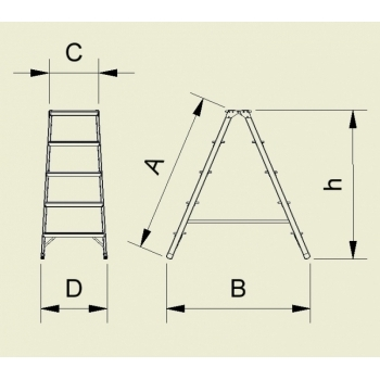 Scara din aluminiu cu urcare pe ambele tronsoane 968/928, 2x8 trepte, Alverosal #2