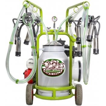 Aparat de muls vaci, Milka 2, cu motor pe  benzina, 2 posturi, 1 bidon de aluminiu, 40 L, INOX CENTER