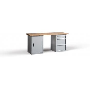 Banca de lucru Wb New D-H3, 3 sertare + 1 dulap + 2 bucati polite, Metalobox