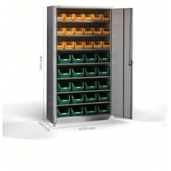 Dulap Expert  B-38, pentru depozitare, cu 38  cutii plastic, Metalobox
