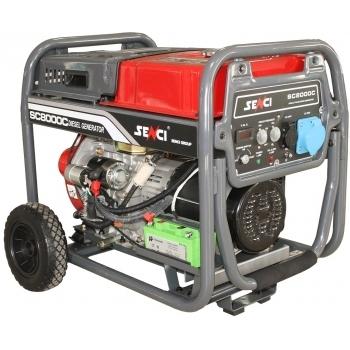 Generator de curent Senci, SC-8000D, monofazic, putere 7.0 kW, diesel, putere motor 9 Cp, tensiune 230 V, pornire electrica, AVR inclus, manere si roti pentru transport