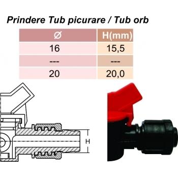 Minivana start conector cu gat tub picurare 16 mm, Palaplast #3