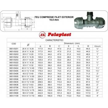 Teu compresie FE 32x1''x32, Palaplast #2