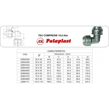 Cot compresie 32x32 mm, Palaplast #2