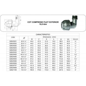 Cot compresie FE 40x1 1/4'', Palaplast #2