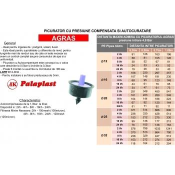 Picurator Agras cu presiune compensata 8L/h, Palaplast #2