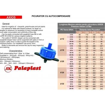 Picurator Axios cu presiune compensata 8L/h, Palaplast #2